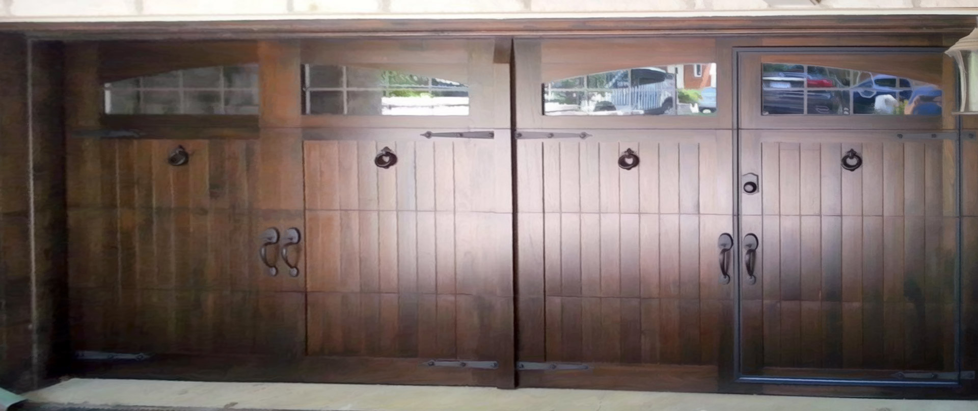 custom wood face - Garage Door With Door